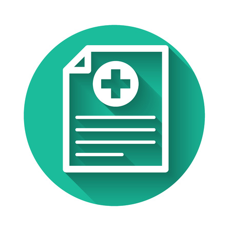 White Medical clipboard with clinical record icon isolated with long shadow. Health insurance form. Document prescription, medical check marks report. Green circle button. Vector Illustration Vettoriali