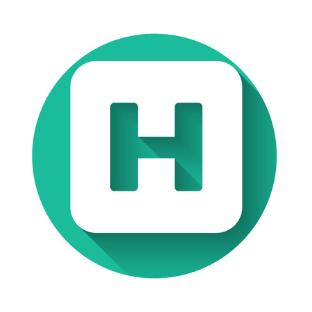 White Hospital sign icon isolated with long shadow. Green circle button. Vector Illustration