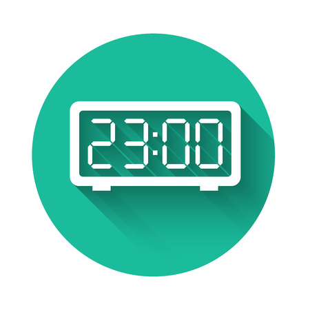 White Retro flip clock icon isolated with long shadow. Wall flap clock, number counter template, all digits with flips. Green circle button. Vector Illustration  イラスト・ベクター素材
