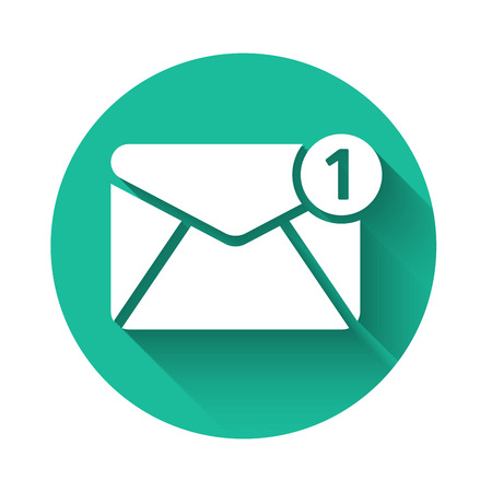 White Envelope icon isolated with long shadow. Received message concept. New, email incoming message, sms. Mail delivery service. Green circle button. Vector Illustration