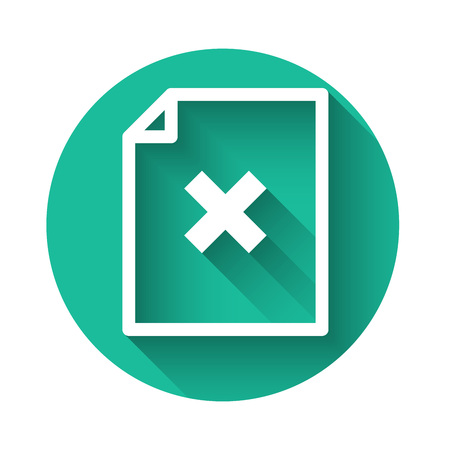 White Delete file document icon isolated with long shadow. Rejected document icon. Cross on paper. Green circle button. Vector Illustration Ilustrace
