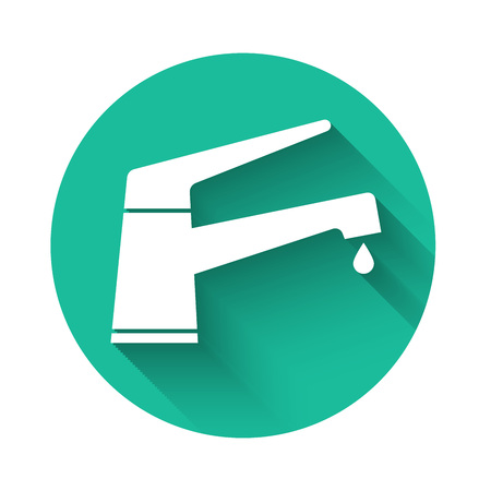 White Water tap with a falling water drop icon isolated with long shadow. Green circle button. Vector Illustration