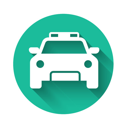White Police car and police flasher icon isolated with long shadow. Emergency flashing siren. Green circle button. Vector Illustration Ilustrace