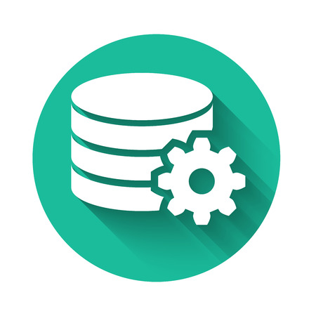 White Setting database server icon isolated with long shadow. Database Center. Green circle button. Vector Illustration