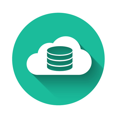 White Cloud database icon isolated with long shadow. Cloud computing concept. Digital service or app with data transferring. Green circle button. Vector Illustration Illusztráció