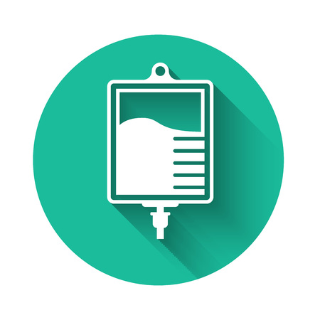 White IV bag icon isolated with long shadow. Blood bag icon. Donate blood concept. The concept of treatment and therapy, chemotherapy. Green circle button. Vector Illustration