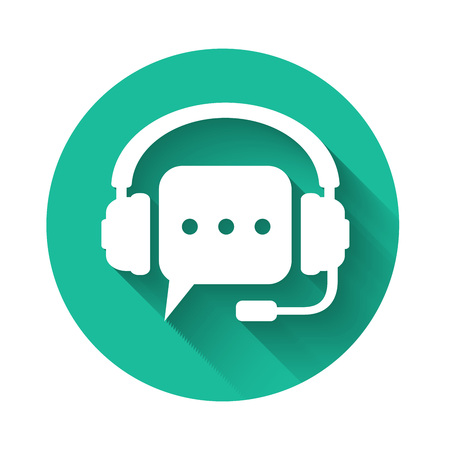 White Headphones with speech bubble icon isolated with long shadow. Support customer services, hotline, call center, guideline, faq, maintenance, assistance. Green circle button. Vector Illustration