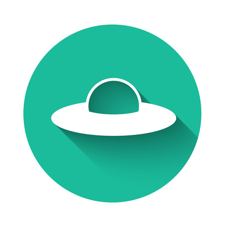 White UFO flying spaceship icon isolated with long shadow. Flying saucer. Alien space ship. Futuristic unknown flying object. Green circle button. Vector Illustration