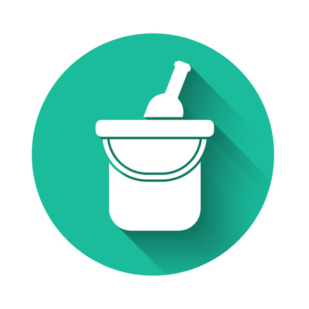 White Bottle of wine in an ice bucket icon isolated with long shadow. Green circle button. Vector Illustration