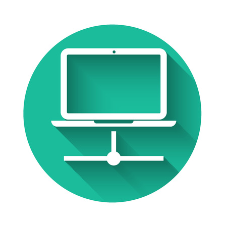White Computer network icon isolated with long shadow. Laptop network. Internet connection. Green circle button. Vector Illustration Ilustração