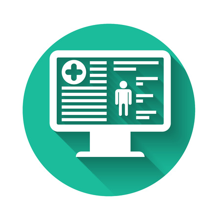 White Medical clinical record on monitor icon isolated with long shadow. Health insurance form. Prescription, medical check marks report. Green circle button. Vector Illustration