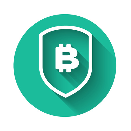 White Shield with bitcoin icon isolated with long shadow. Cryptocurrency mining, blockchain technology, bitcoin, security, protect, digital money. Green circle button. Vector Illustration
