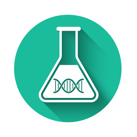 White DNA research, search icon isolated with long shadow. Genetic engineering, genetics testing, cloning, paternity testing. Green circle button. Vector Illustration
