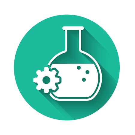 White Bioengineering icon isolated with long shadow. Element of genetics and bioengineering icon. Biology, molecule, chemical icon. Green circle button. Vector Illustration
