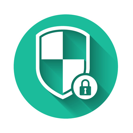 White Shield security with lock icon isolated with long shadow. Protection, safety, password security. Firewall access privacy sign. Green circle button. Vector Illustration