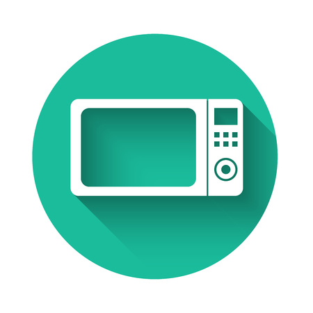 White Microwave oven icon isolated with long shadow. Home appliances icon.Green circle button. Vector Illustration