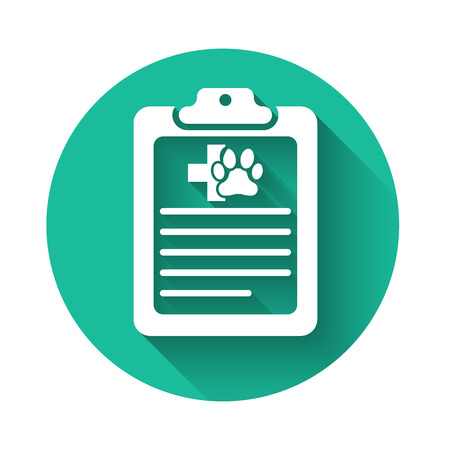 White Clipboard with medical clinical record pet icon isolated with long shadow. Health insurance form. Medical check marks report. Green circle button. Vector Illustration