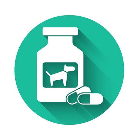 White Dog medicine bottle and pills icon isolated with long shadow. Container with pills. Prescription medicine for animal. Green circle button. Vector Illustration