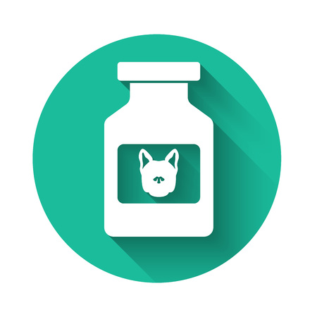 White Dog medicine bottle icon isolated with long shadow. Container with pills. Prescription medicine for animal. Green circle button. Vector Illustration
