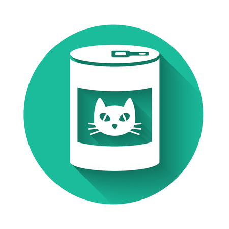 White Canned food for cat icon isolated with long shadow. Food for animals. Pet dog food can. Green circle button. Vector Illustration
