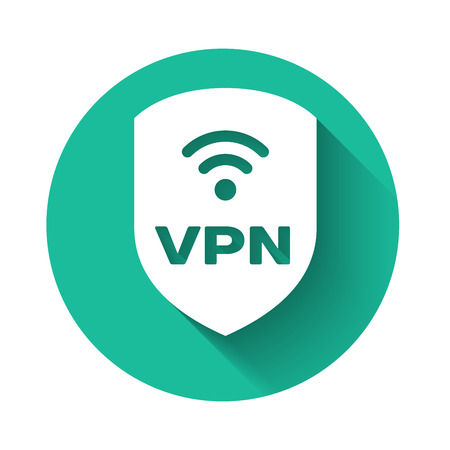White Shield with VPN and wifi wireless internet network symbol icon isolated with long shadow. VPN protect safety concept. Green circle button. Vector Illustration