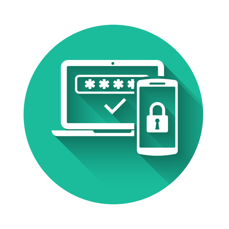 White Multi factor, two steps authentication icon isolated with long shadow. Green circle button. Vector Illustration Vettoriali