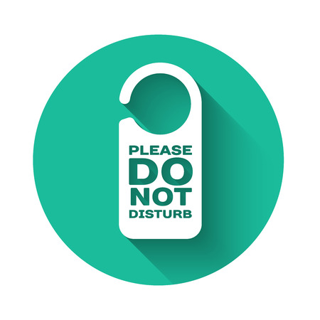 White Please do not disturb icon isolated with long shadow. Hotel Door Hanger Tags. Green circle button. Vector Illustration