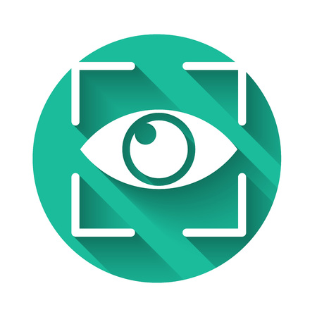 White Eye scan icon isolated with long shadow. Scanning eye. Security check symbol. Cyber eye sign. Green circle button. Vector Illustration