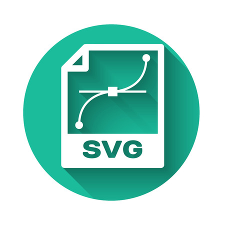 White SVG file document icon. Download svg button icon isolated with long shadow. SVG file symbol. Green circle button. Vector Illustration