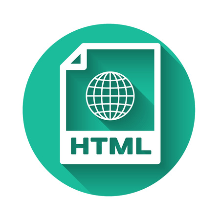 White HTML file document icon. Download html button icon isolated with long shadow. HTML file symbol. Markup language symbol. Green circle button. Vector Illustration