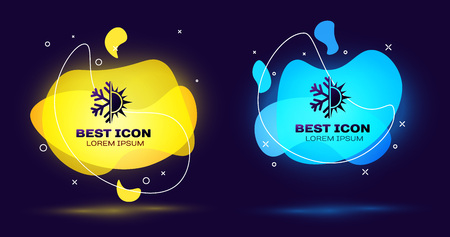Black Hot and cold symbol. Sun and snowflake icon isolated on blue background. Winter and summer symbol. Set of liquid color abstract geometric shapes. Vector Illustration Vettoriali
