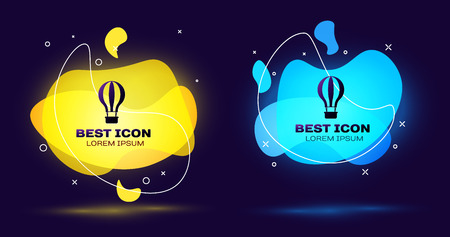 Black Hot air balloon icon isolated. Air transport for travel. Set of liquid color abstract geometric shapes. Vector Illustration