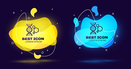 Black Genetic engineering icon isolated. DNA analysis, genetics testing, cloning, paternity testing. Set of liquid color abstract geometric shapes. Vector Illustration