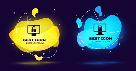 Black Lock on computer monitor screen icon isolated. Monitor and padlock. Security, safety, protection concept. Safe internetwork. Set of liquid color abstract geometric shapes. Vector Illustration
