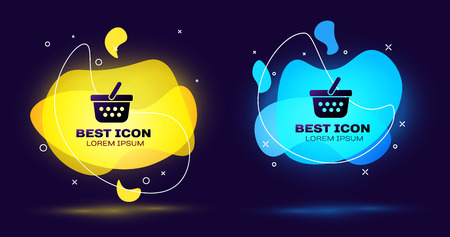 Black Shopping basket icon isolated. Online buying concept. Delivery service sign. Shopping cart symbol. Set of liquid color abstract geometric shapes. Vector Illustration