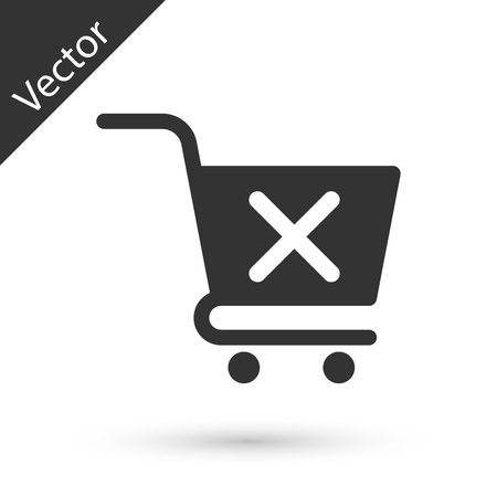 Grey Remove shopping cart icon isolated on white background. Online buying concept. Delivery service sign. Supermarket basket and X mark symbol. Vector Illustration