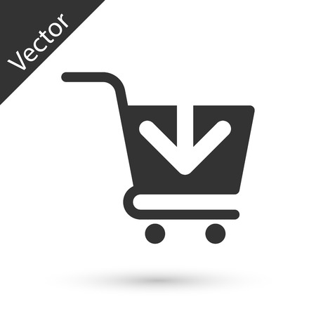 Grey Add to Shopping cart icon isolated on white background. Online buying concept. Delivery service sign. Supermarket basket symbol. Vector Illustration
