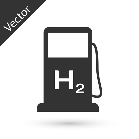 Grey Hydrogen filling station icon isolated on white background. H2 station sign. Vector Illustration