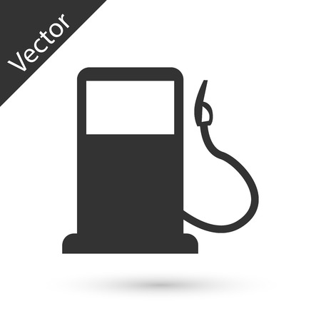Grey Petrol or Gas station icon isolated on white background. Car fuel symbol. Gasoline pump. Vector Illustration