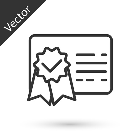 Icona della linea del modello di certificato grigio isolato su priorità bassa bianca. Concetti di conseguimento, premio, laurea, concessione, diploma. Certificato di successo aziendale. illustrazione vettoriale
