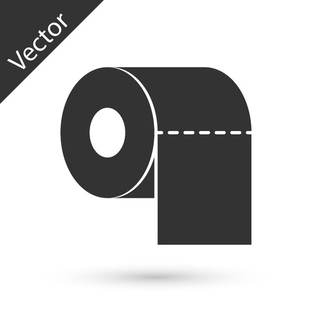 Grey Toilet paper roll icon isolated on white background. Vector Illustration