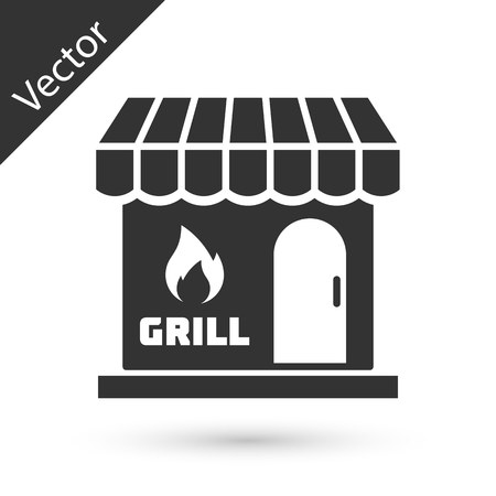 Grey Barbecue shopping building or market store icon isolated on white background. BBQ grill party. Shop construction. Vector Illustration