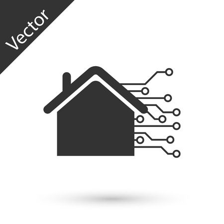 Grey Smart home icon isolated on white background. Remote control. Vector Illustration