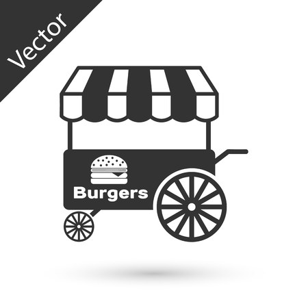Grey Fast street food cart with awning icon isolated on white background. Burger or hamburger icon. Urban kiosk. Vector Illustration