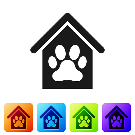 Black Dog house and paw print pet icon isolated on white background. Dog kennel. Set icon in color square buttons. Vector Illustration