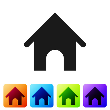 Black Dog house icon isolated on white background. Dog kennel. Set icon in color square buttons. Vector Illustration