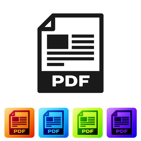 Black PDF file document icon. Download pdf button icon isolated on white background. PDF file symbol. Set icon in color square buttons. Vector Illustration Ilustrace