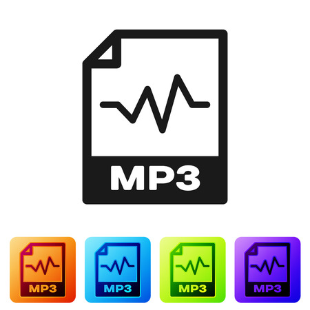Black MP3 file document icon. Download mp3 button icon isolated on white background. Mp3 music format sign. MP3 file symbol. Set icon in color square buttons. Vector Illustration