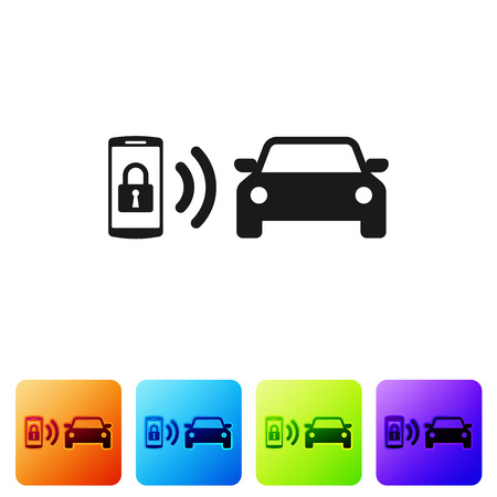 Black Smart car alarm system icon isolated on white background. The smartphone controls the car security on the wireless. Set icon in color square buttons. Vector Illustration