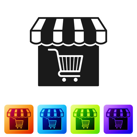 Black Shopping building or market store with shopping cart icon isolated on white background. Shop construction. Supermarket basket symbol. Set icon in color square buttons. Vector Illustration